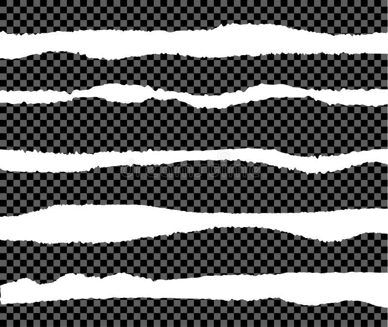 L'ensemble de vecteur de bords de papier déchirés, collection d'éléments de conception a isolé illustration stock