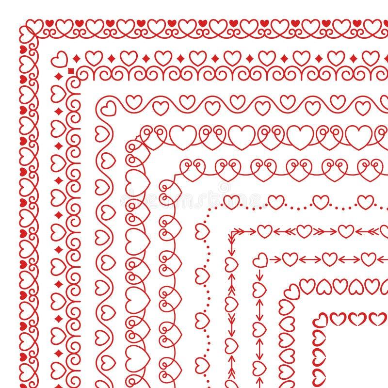 L'ensemble de vecteur de brosses de coin avec des coeurs, s'épanouit, se courbe dans le style linéaire moderne illustration de vecteur