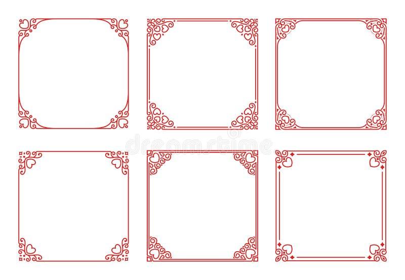 L'ensemble de vecteur de cadres rouges carrés avec des coeurs, s'épanouit, des boucles dans le style d'art déco de cru illustration de vecteur