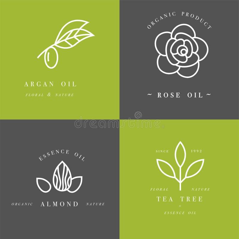 L'ensemble de vecteur de calibres et d'emblèmes de conception d'emballage dans le style linéaire - beauté et huiles de cosmétique photos stock