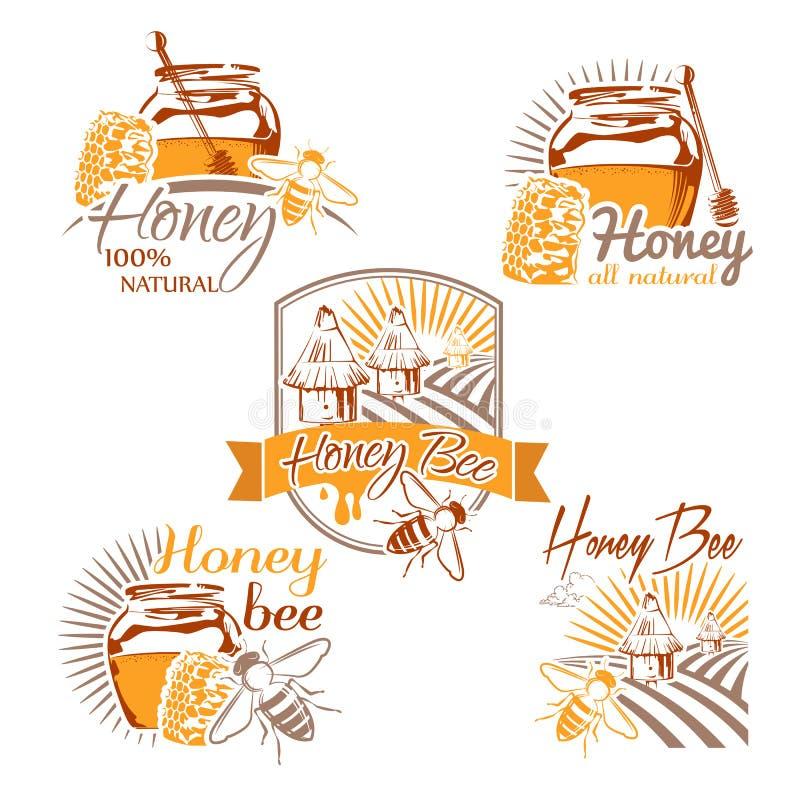 L'ensemble de vecteur a coloré des labels de miel, des logos, des insignes et l'ele de conception illustration libre de droits