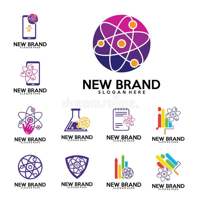 L'ensemble de vecteur de conception de logo de laboratoires de physique, biologie enroule, peint, téléphone, stat, finances, note illustration de vecteur