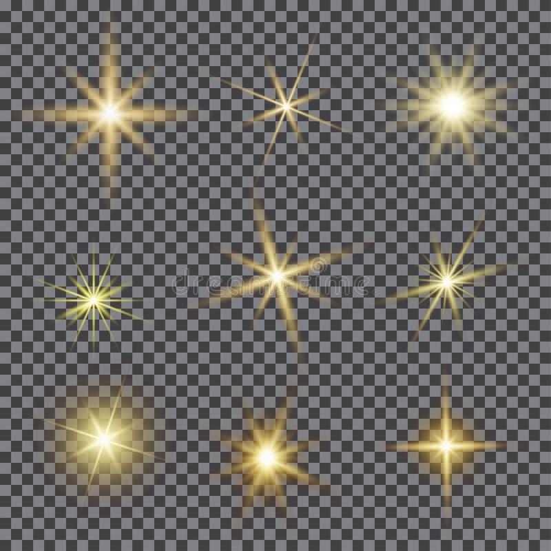 L'ensemble de vecteur d'éclairage d'éclat, lentille de scintillement évase illustration de vecteur