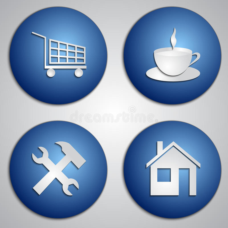 L'ensemble de vecteur d'icônes bleues rondes de site avec le papier a coupé l'image illustration stock