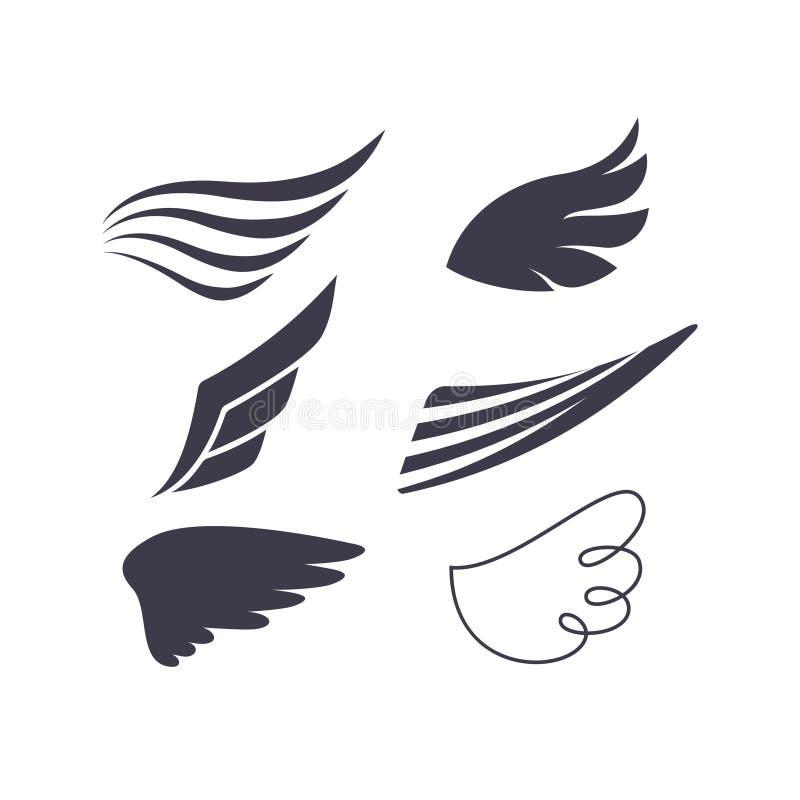 L'ensemble de vecteur d'oiseau s'envole des silhouettes illustration stock