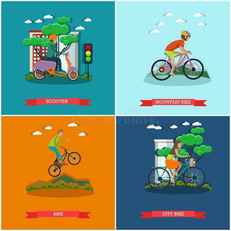 Download L'ensemble De Vecteur De Bicyclette Dactylographie Des Affiches De Concept Dans Le Style Plat Illustration de Vecteur - Illustration du équitation, motocycliste: 87705523