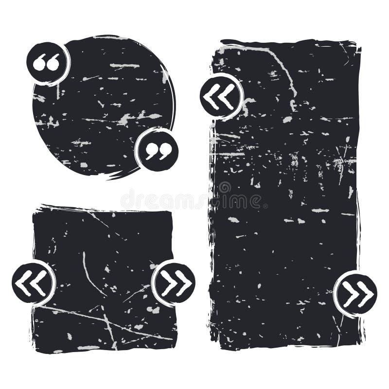 L'ensemble de vecteur de citation forme le calibre Fond rayé par noir illustration de vecteur