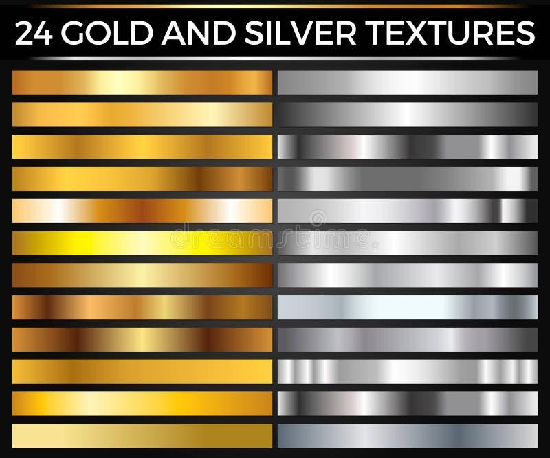 L'ensemble de vecteur de collection de places d'or et de gradients, d'or et d'argent d'argent, donne au groupe une consistance ru illustration de vecteur