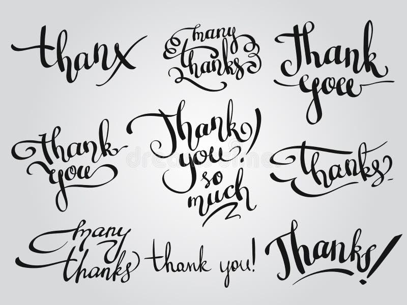 L'ensemble de vecteur de différemment remettent des mots écrits vous remercient illustration de vecteur