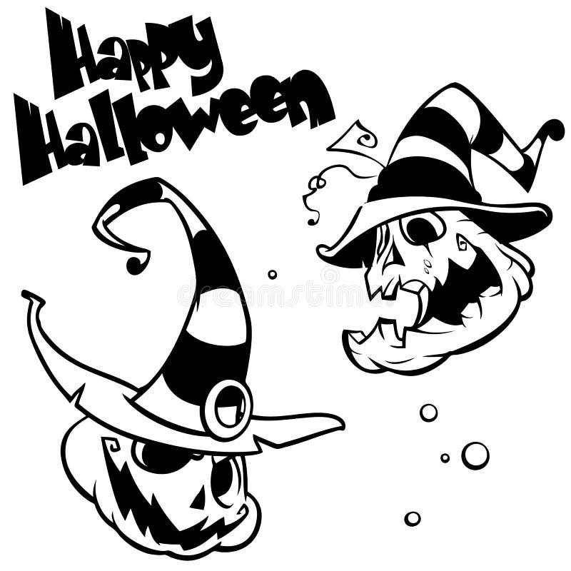 L'ensemble de vecteur de potirons drôles de Halloween se dirigent dans le chapeau de sorcière Livre de coloriage principal de pot illustration stock