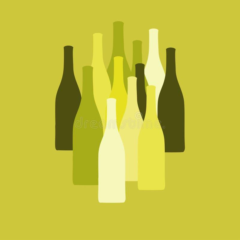 L'ensemble de vecteur de vin ou de vinaigre met des silhouettes en bouteille illustration libre de droits