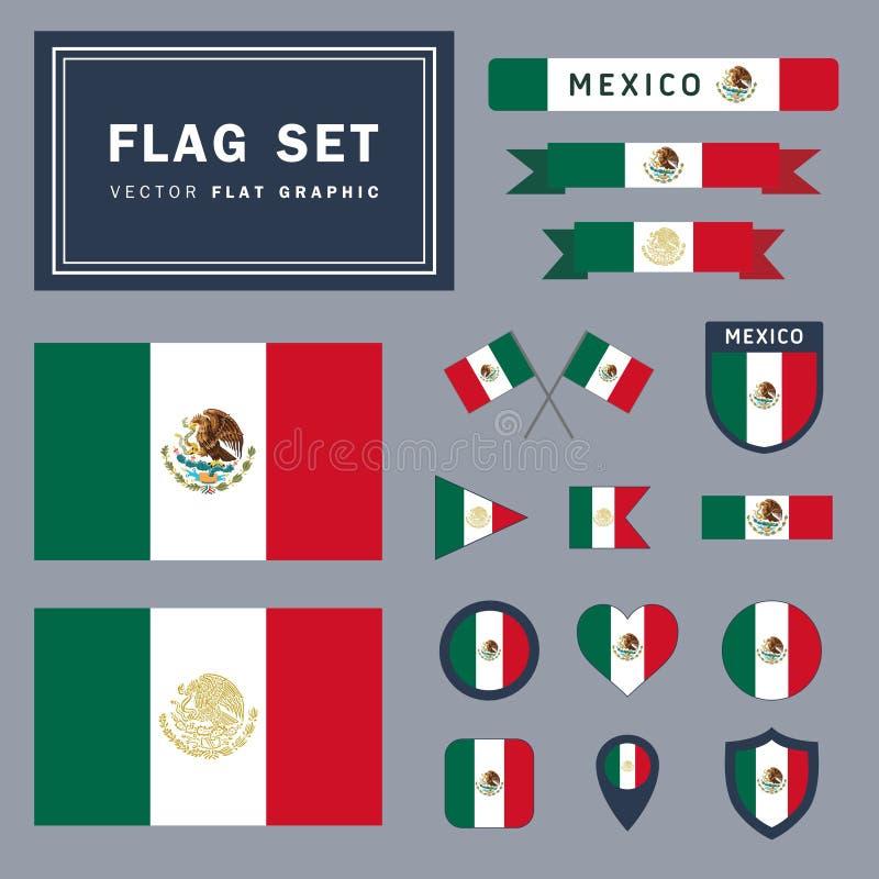 L'ensemble de vecteur du drapeau 16 mexicain différent a rapporté des illustrations photographie stock libre de droits