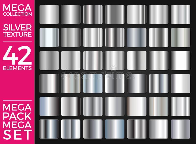 L'ensemble de vecteur de gradients argentés, collection argentée de places, donne au groupe une consistance rugueuse illustration libre de droits