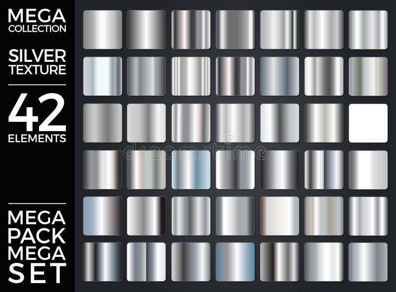 L'ensemble de vecteur de gradients argentés, collection argentée de places, donne au groupe une consistance rugueuse illustration stock