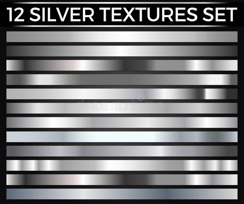 L'ensemble de vecteur de gradients argentés, collection argentée de places, donne au groupe une consistance rugueuse illustration de vecteur