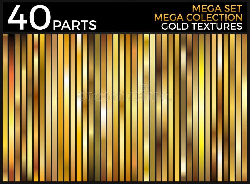L'ensemble de vecteur de gradients d'or, collection d'or de places, donne au groupe une consistance rugueuse illustration libre de droits