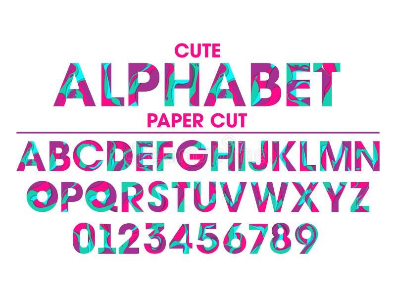 L'ensemble de vecteur de lettres et de nombres en papier a coupé le style illustration de vecteur