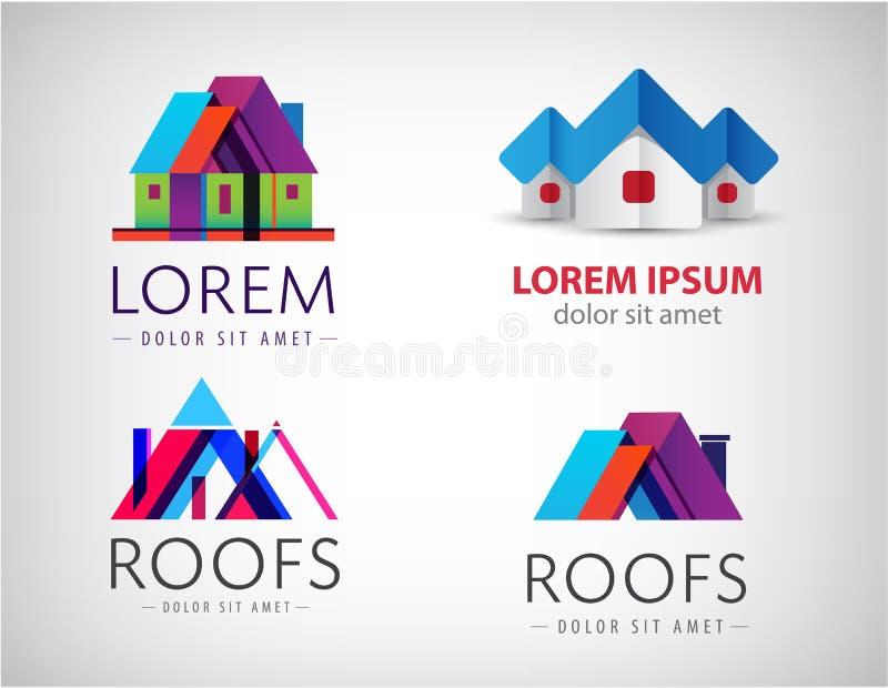 L'ensemble de vecteur de maisons, immobiliers, logos de construction, icônes isolent illustration stock