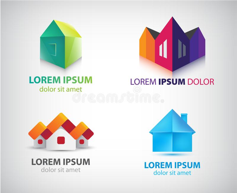 L'ensemble de vecteur de maisons, immobiliers, logos de construction, ic?nes isolent illustration de vecteur