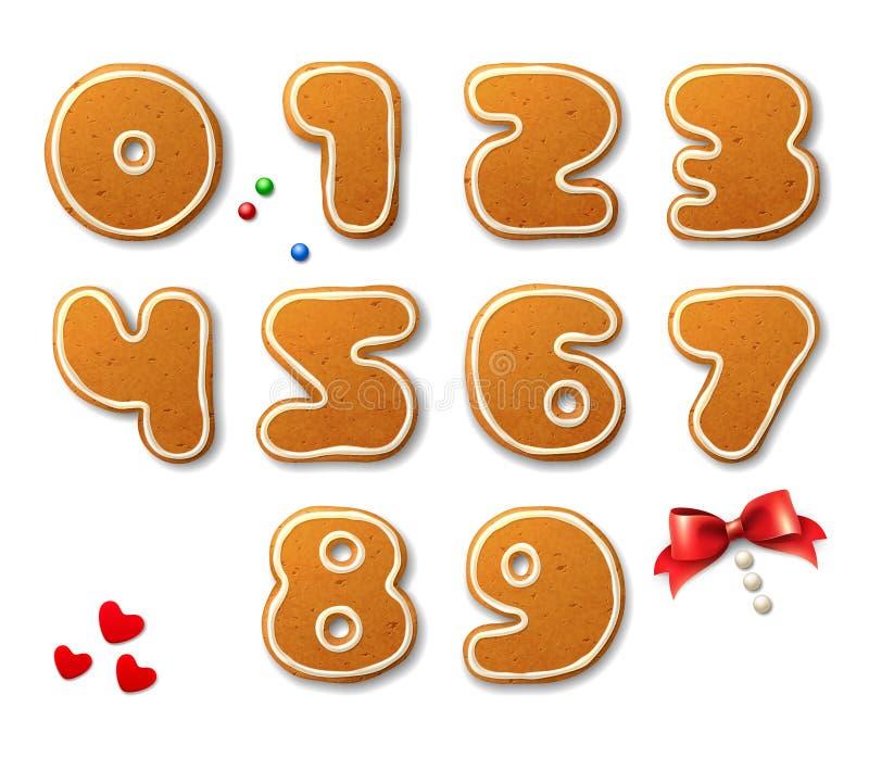 L'ensemble de vecteur numérote dans la forme des pains d'épice de Noël illustration stock