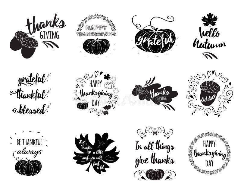 L'ensemble de vecteur de thanksgiving souhaite des recouvrements, marquant avec des lettres des labels illustration stock