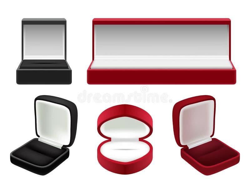 L'ensemble de vecteur de velours rouge et noir vide a ouvert des boîtes à bijoux illustration de vecteur