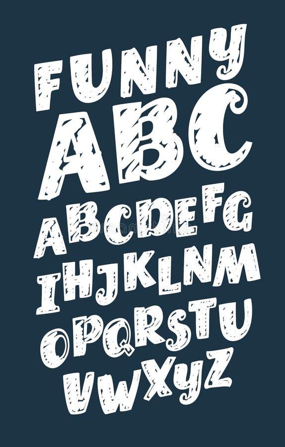 L'ensemble de vecteur de vintage tiré par la main de polices d'alphabet a appelé la craie 3D illustration de vecteur