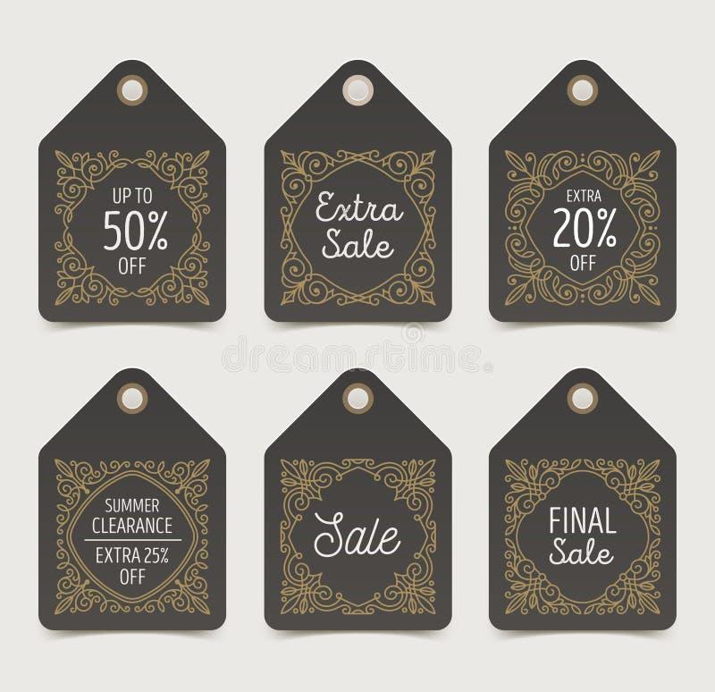 L'ensemble de vente de flourishes étiquette ou des labels illustration libre de droits