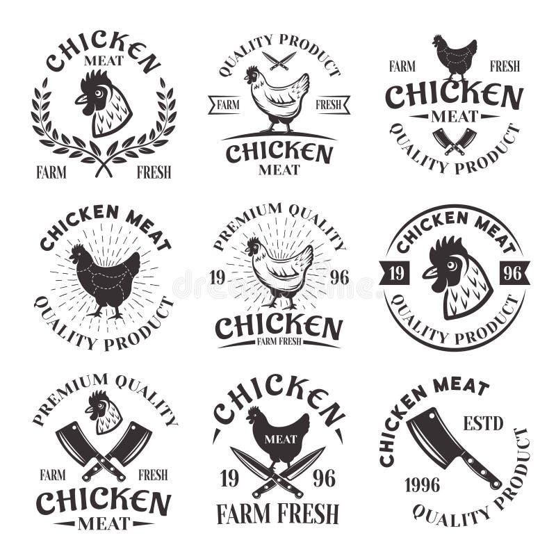 L'ensemble de viande de poulet de vecteur symbolise, des labels, insignes illustration libre de droits