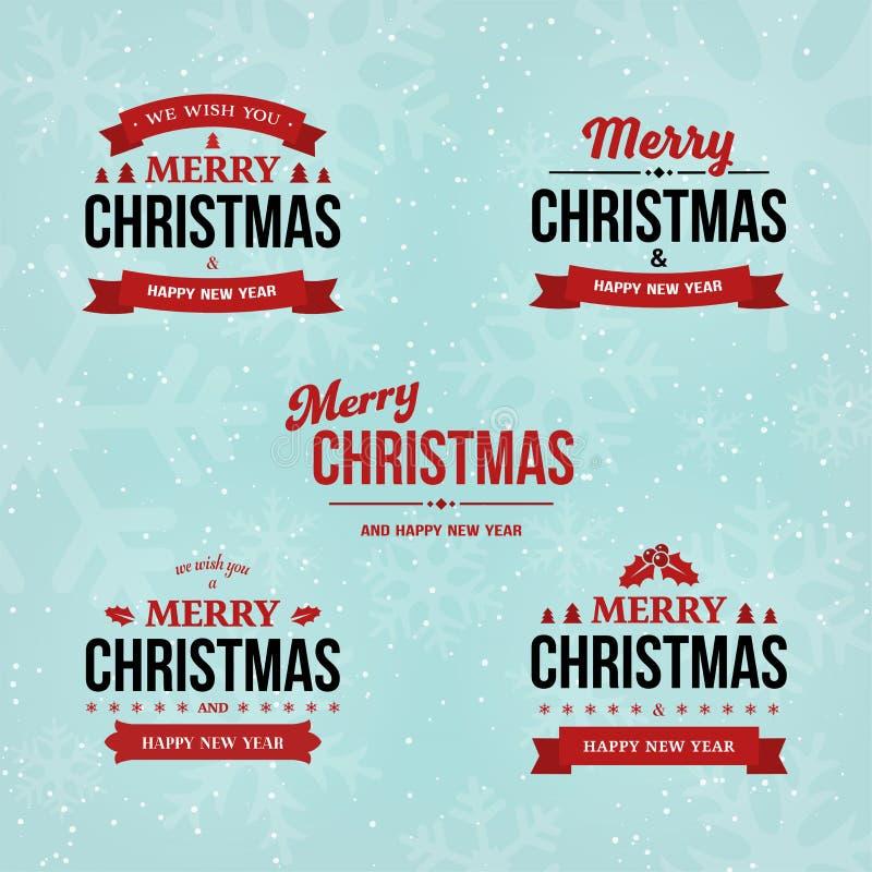 L'ensemble de vintage de Joyeux Noël et de bonne année badges sur le fond d'hiver de vacances avec la neige et les flocons de nei illustration stock