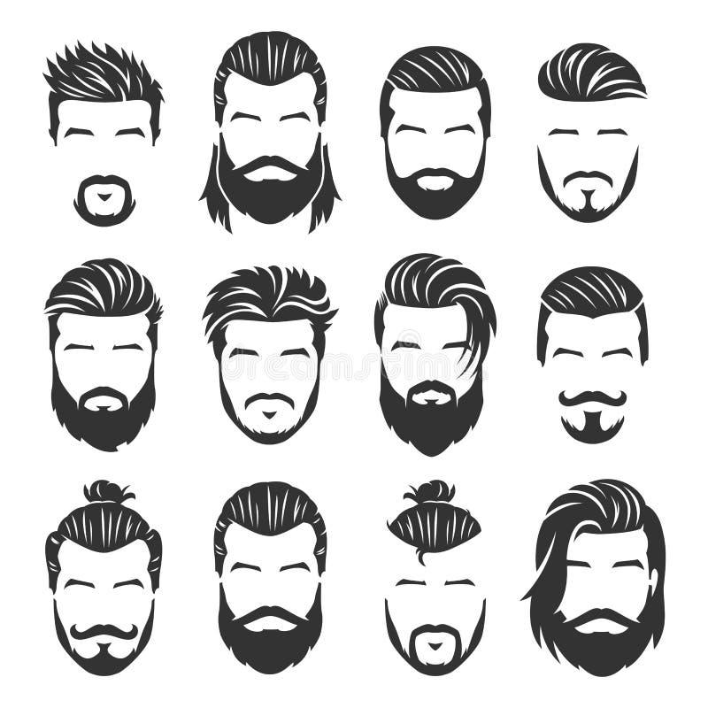 L'ensemble 12 de visages barbus d'hommes de vecteur avec différentes coupes de cheveux et le style emballent illustration de vecteur