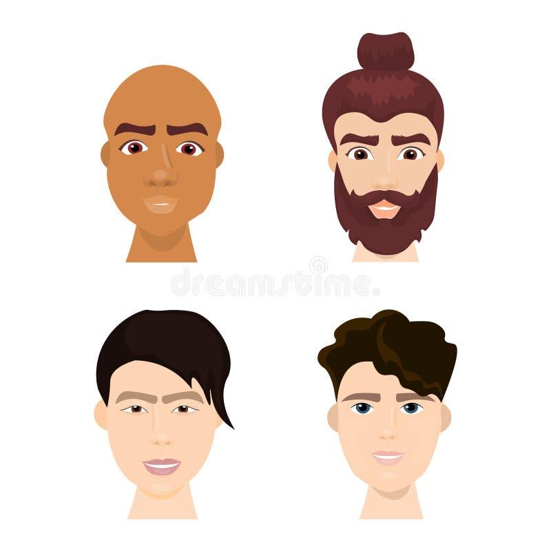 L'ensemble de visages divers d'homme de hippie avec des barbes et des coiffures à la mode a isolé la collection d'icône illustration stock