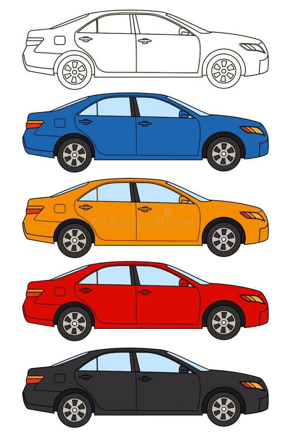 L'ensemble de voitures, dirigent le style plat illustration libre de droits