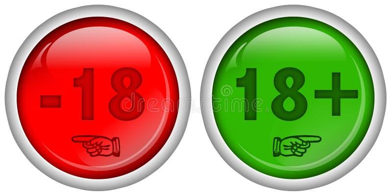 L'ensemble de Web rond rouge et vert se boutonne pour 18 + contenu adulte, conception brillante, illustration de vecteur