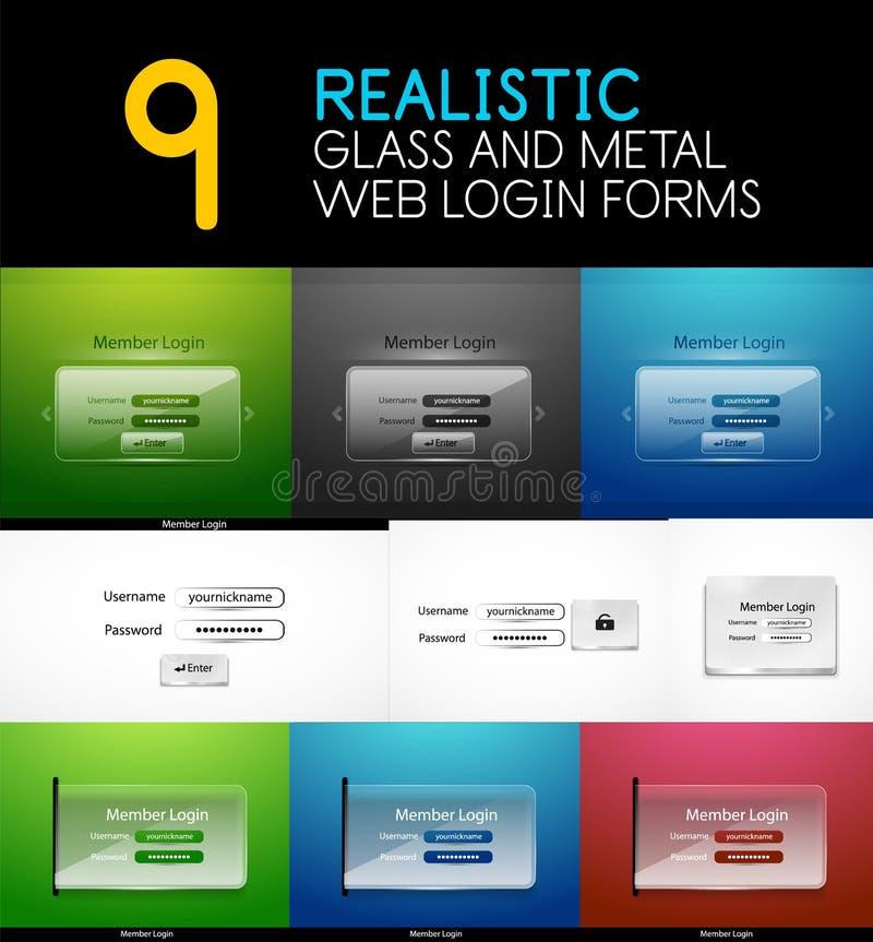 L'ensemble de Web transparent réaliste en verre et en métal ouvrent une session des formes illustration libre de droits