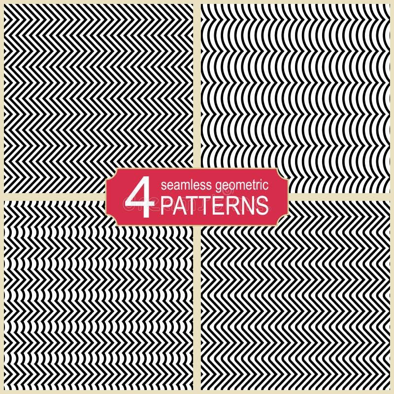 L'ensemble de zigzag abstrait sans couture raye des modèles de vecteur illustration libre de droits