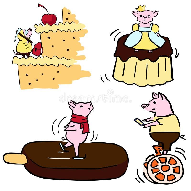 L'ensemble drôle de vecteur mignon de couleur a costumé les porcs drôles illustration libre de droits