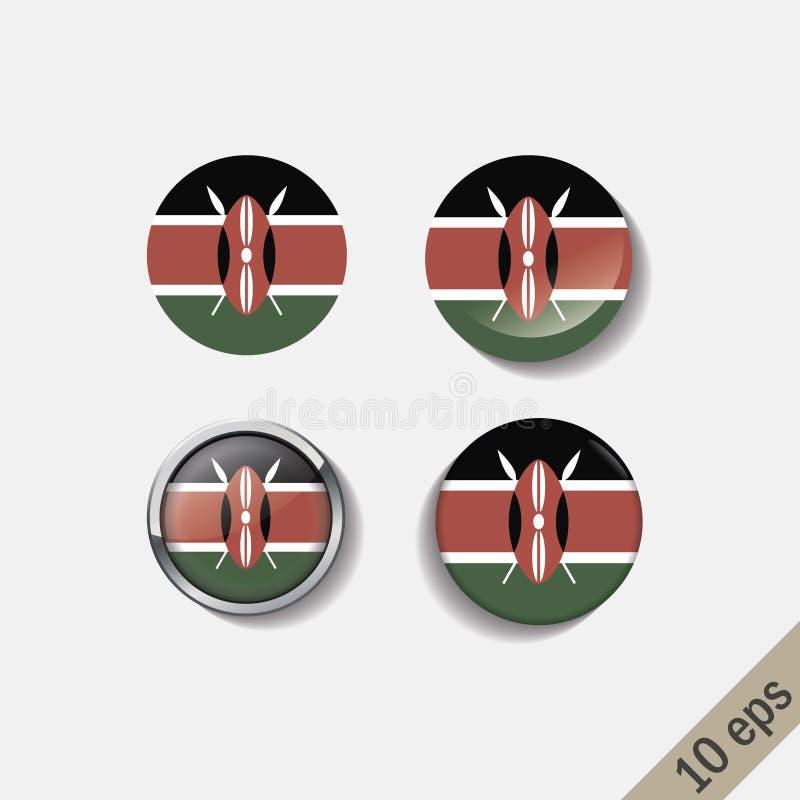 L'ensemble du KENYA diminue autour des insignes illustration de vecteur