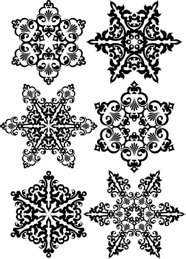 L'ensemble du résumé 2, dirigent les mandalas ronds noirs de conception de dentelle, ethn illustration libre de droits