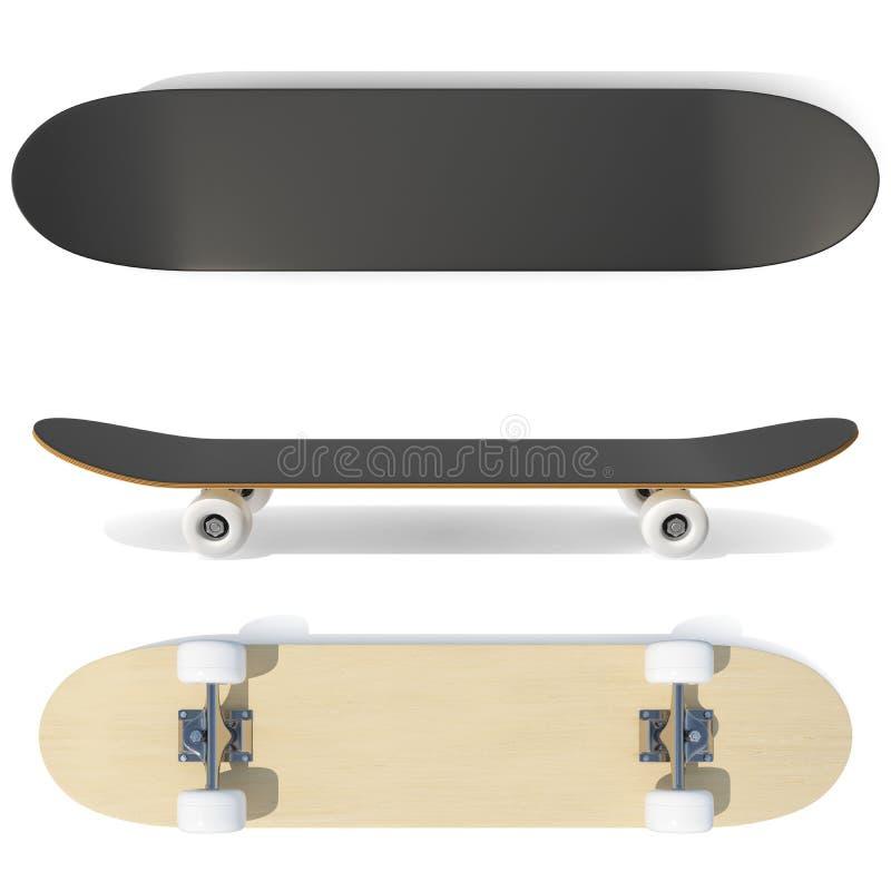 l'ensemble du rendu 3d de planche à roulettes symbolise, des labels, des insignes et des éléments de conception illustration de vecteur