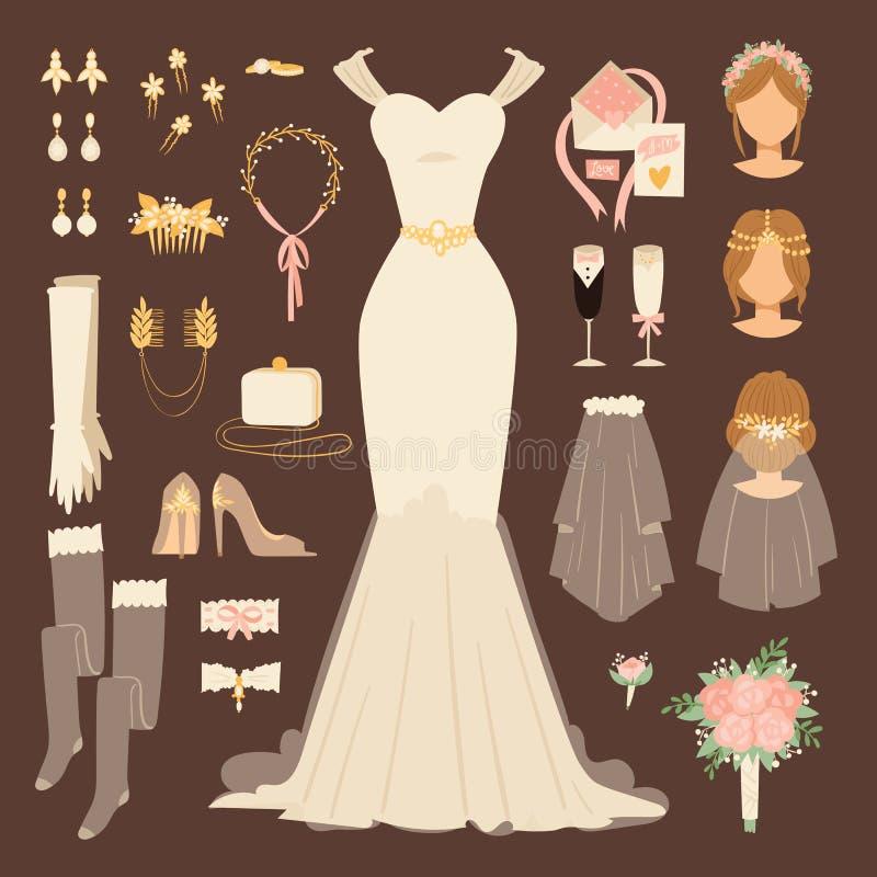 L'ensemble et la bande dessinée nuptiales de décor de croquis de douche de style de griffonnage de robe de jeune mariée de mode d illustration de vecteur