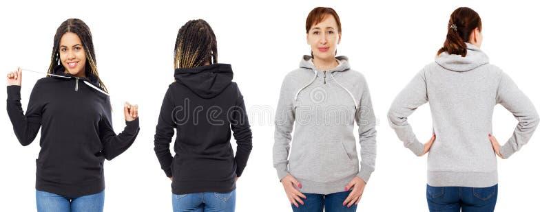 L'ensemble femelle de capot d'isolement au-dessus du fond blanc, capot gris a isolé la moquerie noire de hoodie  images libres de droits