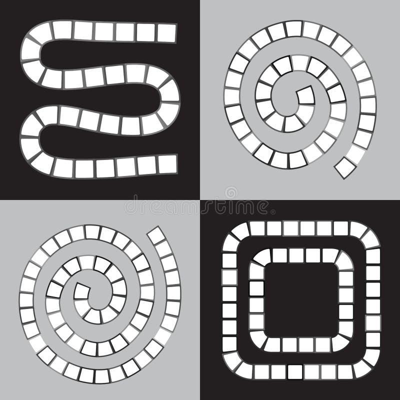 L'ensemble futuriste abstrait de labyrinthe, calibre pour des jeux du ` s d'enfants, les places blanches noircissent la découpe s illustration stock