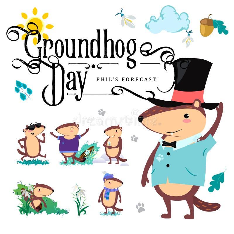 L'ensemble heureux de jour de Groundhog, marmotte mignonne dans le cylindre tient la fleur - le perce-neige blanc, prévision de t illustration stock