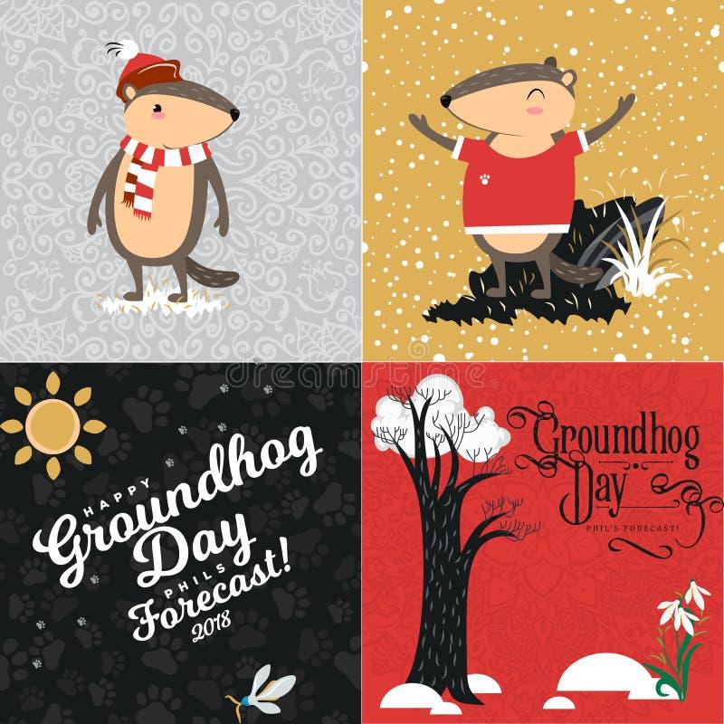 L'ensemble heureux de jour de Groundhog, marmotte mignonne dans le cylindre tient la fleur - le perce-neige blanc, prévision de t illustration de vecteur