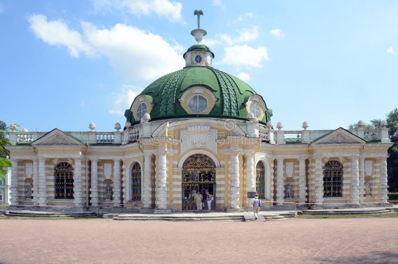 L'ensemble Kuskovo de palais et de parc représente graphiquement l'architecte 1756-1761 de grotte de siècles de Sheremetevs XVIII images stock