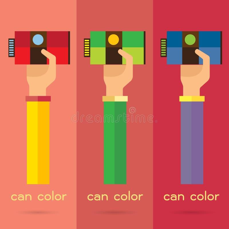 L'ensemble main-bras de peinture d'illustration de vecteur peut colorer l'icône de fond illustration stock