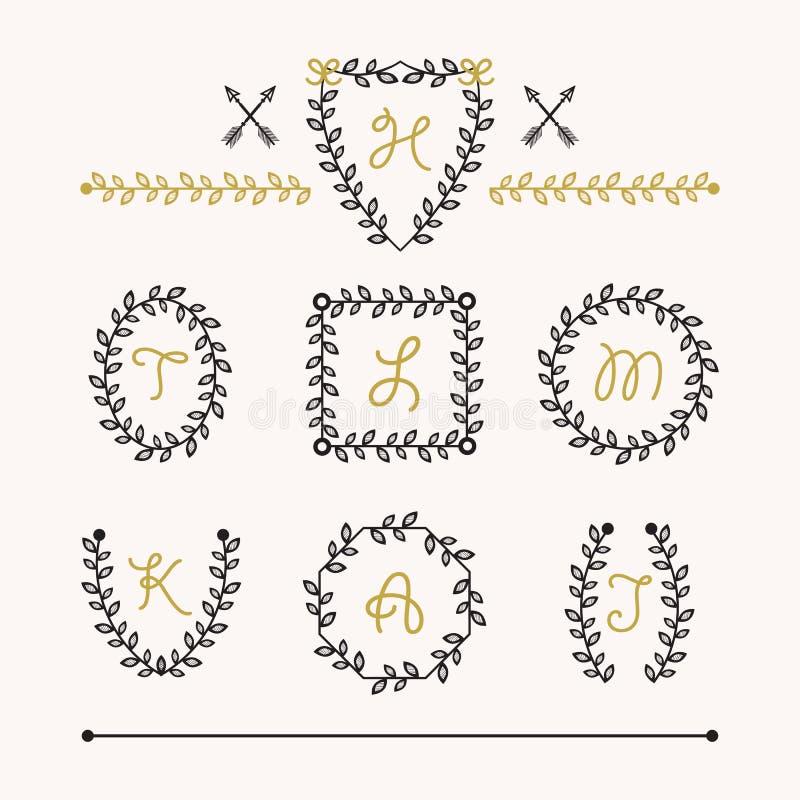 L'ensemble mignon d'insignes noirs laisse des icônes d'emblèmes dans différentes formes illustration de vecteur