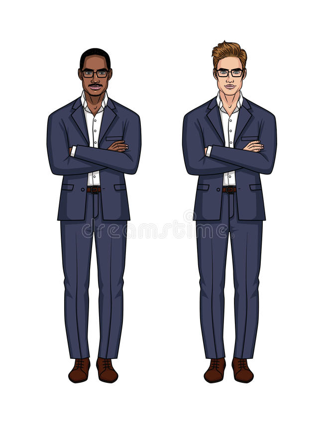 L'ensemble moderne à la mode de deux hommes d'affaires de différentes nationalités avec des bras a croisé sur le coffre illustration stock