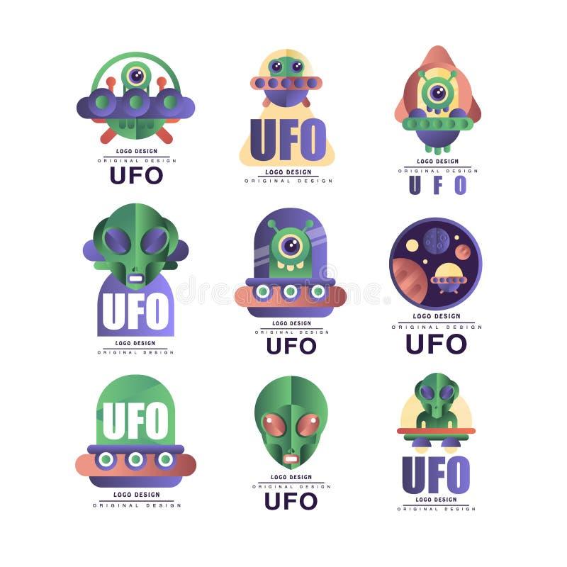 L'ensemble original de conception de logo d'UFO, l'emblème avec l'étranger et la soucoupe dirigent des illustrations sur un fond  illustration de vecteur
